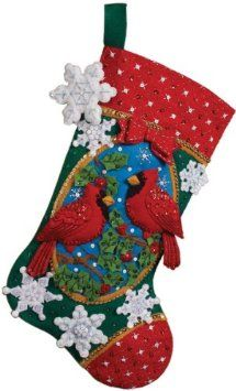 Amazon.com: Bucilla 18-Inch Christmas Stocking Felt Applique Kit, Cardinals: Arts, Crafts & Sewing