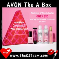 "The Avon ""A"" Box – Power of Pink Collection.  Each Avon brochure, be sure to check out a fabulous new A Box. Perfect to sample something new or checkout out an inspired color statement.  WHILE SUPPLIES LAST! The Avon ""A"" Box Power of Pink Collection has a value of $31+ ONLY $10 with any $40 Avon purchase & FREE Shipping!  #Avon #FreeShipping #GWP #WhileSuppliesLast #CJTeam #Sale #ABox #AvonExclusive #Avon4Me #PowerofPInkCollection #C21 Shop Avon Online @ www.TheCJTeam.com"