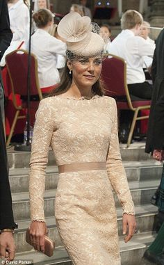 The Duchess of Cambridge in Alexander McQueen. Hat by Jane Taylor and shoes by LK Bennett. Stunning!
