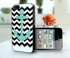 Mint Glitter Anchor Black Chevron -  iPhone 4 Case, iPhone 5 Case. FREE SHIPPING - Worldwide.