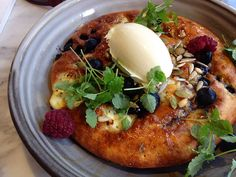 Ricotta hotcakes with blueberries, maple, seeds and organic mascarpone. Top Paddock Cafe - Richmond, Melbourne.