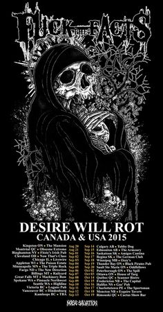 """NEWS: The Canadian grindcore band, Fuck The Facts, have announced the """"Desire Will Rot Canada & USA 2015 Tour,"""" set to start late summer and go through fall. The tour is in support of their newest album, Desire Will Rot . You can check out the dates and details at http://digtb.us/1e3P9jH"""