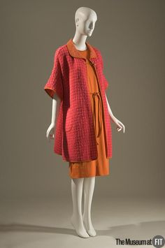 Wool boucle coat trimmed in suede over wool jersey dress ~ Ensemble ~