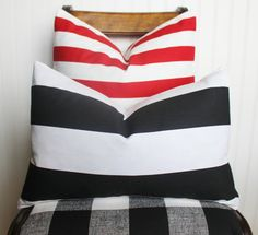 Red Pillow Cover Red Stripe Pillow Red by MariaClaireInteriors