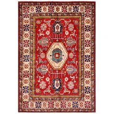 Herat Oriental Afghan Hand-knotted Kazak Wool Rug (5'10 x 8'7) (Afghan Hand-knotted Kazak Area Rug), Red (Natural Fiber, Geometric)