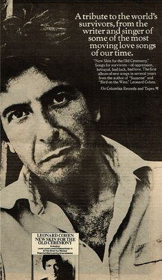 ad for Leonard Cohen's New Skin for the Old Ceremony