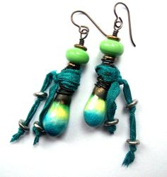 RESERVED FOR C. H. Scorched Earth Lime and Blue Drops, Lime Lampwork Glass Beads, Ribbon with Silver Bead Dangles, Dangle Earrings