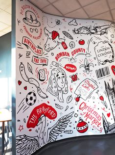 Recently we were approached by Lincoln College to produce a series of wall murals helping to transform their on-site student cafe into a vibrant, creative space. Wall Art Designs, Wall Design, Bedroom Designs, Design Design, House Design, Mural Cafe, Cafe Wall, Café Theatre, Doodle Wall