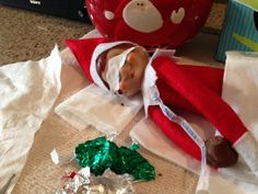 Elf has a tummyache from too much chocolate! #elfontheshelf #holiday