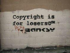 Copyright is for losers ©™ - Banksy Street Art Banksy, Banksy Graffiti, Urban Graffiti, Bansky, Urban Street Art, Urban Art, Banksy Quotes, London Brick, Street Art London