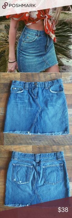 "J.CREW Denim Skirt Super cool J.CREW Denim Skirt. Factory distress on the pockets. Tag size: 29  Great condition like new  Measurements; Waist: 31"" Hips: 36.5"" Length: 15.5"" J. Crew Skirts Midi"