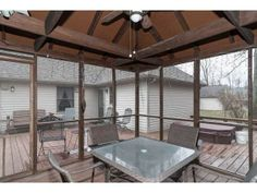 Screened in dining area on patio