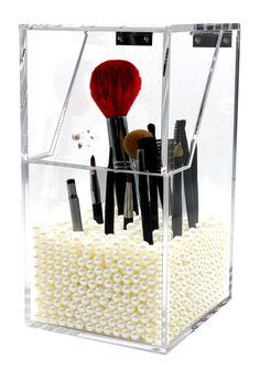 PuTwo Make Up Brush Holder Dustproof Storage Box Premium Quality 5mm Thick Acrylic Makeup Organiser