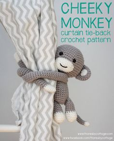 Really cute and easy cheeky monkey curtain tie back crochet pattern (pdf) - Etsy. #crochet #monkey #nursery