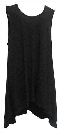 AKH Fashion Lagenlook High-Low Tunika in schwarz XL Mode bei  www.modeolymp.lafeo.de
