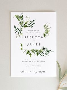 Faire-part mariage - invitation mariage - - Greenery Wedding Invitation Template Fern Leaves Printable Green Wedding Invitations, Printable Wedding Invitations, Diy Invitations, Wedding Invitation Design, Wedding Stationary, Invitation Fonts, Invitations Online, Online Wedding Invitation, Weding Invitation Ideas