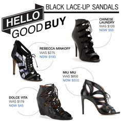 """""""Hello Good Buy: Black Lace-Up Sandals"""" by polyvore-editorial on Polyvore"""