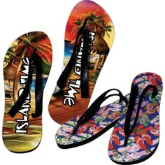 Promotional footwear has never looked better! These branded flip flops are made from 10mm thick EVA foam and are ideal for airport gift shops, country clubs, fitness clubs, lounging poolside, and more! Get creative with your imprinting and add your organization's name, logo and advertising message in full color sublimation. Choose from dozen of licensed artworks and add text to complete the promotional look. They're eye-catching, lightweight and are printed and assembled in th...