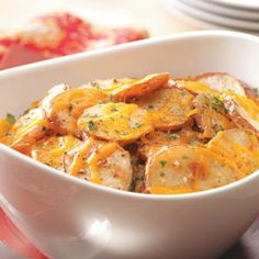 Cheese and Onion Potatoes Recipe. The perfect side dish for meatloaf.