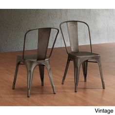 Tabouret Bistro Steel Dining Chairs (Set of 2) (Vintage), Brown (Metal)