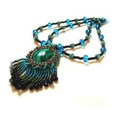 Malachite Beaded Cabochon £30.00 by Creative Treasures