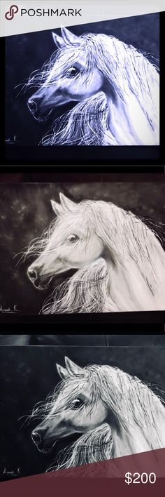 🐴 Hand painting oil Oil on canvas hand painted Arabian white Horse LV Accessories