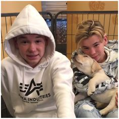 Look the dog. I mean it is soooo happy. Love Twins, Dream Boyfriend, Haha, Handsome, Graphic Sweatshirt, Guys, Brother, Wallpapers, Celebrities