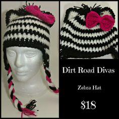 Get this adorable crochet zebra hat from Dirt Road Divas at facebook.com/dirtroaddivas.grace!