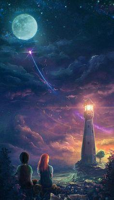 art, fantasy, and moon image