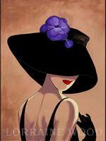 Sombreros-Lorena Dell Wood Glamour Negro Sombrero con la flor de la pasión azul