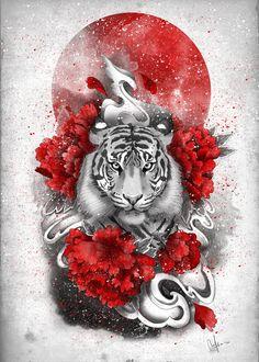 White tiger, red sun Art Print by Marine Loup - X-Small Tiger Tattoo Thigh, Thigh Piece Tattoos, Tiger Tattoo Design, Back Piece Tattoo, Japanese Tiger Tattoo, Japanese Tattoo Women, Japanese Dragon Tattoos, Japanese Tiger Art, Red Ink Tattoos