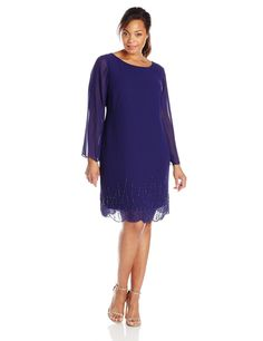 9ab0603d56fd Amazon.com  S.L. Fashions Women s Plus-Size Long Sleeve Chiffon Beaded  Sheath Dress