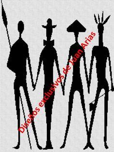 4 africanos bordado en punto cruz