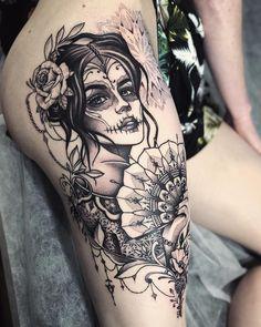 Beautiful Thigh Tattoos for Women Designs thigh tattoo Skull Thigh Tattoos, Sugar Skull Girl Tattoo, Girl Thigh Tattoos, Floral Thigh Tattoos, Thigh Tattoo Designs, Sleeve Tattoos For Women, Candy Skull Tattoos, Back Thigh Tattoo, Sugar Skull Sleeve