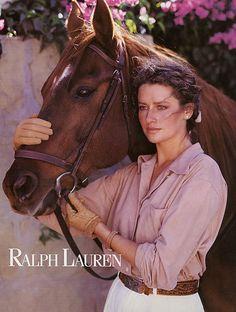 1989 Ralph Lauren Isabelle Townsend horse 3-page MAGAZINE AD