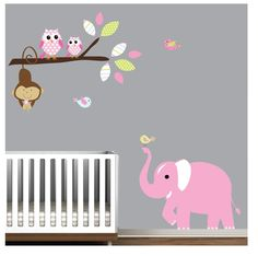 Wall Decal Wall Sticker Children Jungle with Owls-Nursery Wall Vinyl Decal. $99.00, via Etsy.