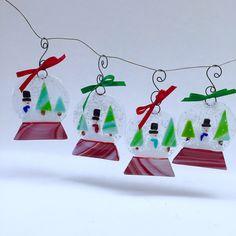 snow globe ornaments available on etsy at artglassbystraub - Fused Glass Christmas Ornaments
