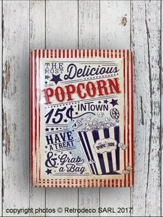 Plaque métal décorative Pop Corn MM, déco vintage, Nostalgic Art Nostalgic Art, Deco Retro, Metal Plaque, Decoration, Popcorn, Style, Vintage Decor, Home Decoration, Decor