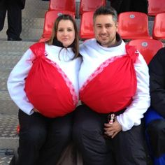 OMG this would be perfect for the bra lap next year!!!!!!!!!!!!!!! Relay for Life Hilmar! DIY / The Bra Costume / Couple Costume