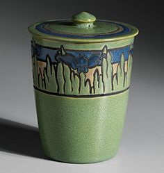 Saturday evening Girl pots - American art pottery - Paul Revere Pottery. When women were out of work they were able to get a job painting the designs on this pottery every Saturday evening. Love this story.