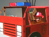 How to Build a Cardboard Fire Engine Cardboard Dollhouse, Cardboard Playhouse, Cardboard Paper, Creative Crafts, Crafts For Kids, Fire Truck Craft, Truck Crafts, Play Structures, Fire Engine