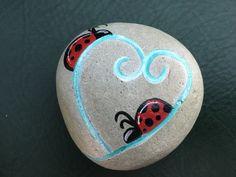Ladybug heart rock