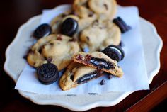 Mini Oreo Stuffed Chocolate Chip Cookies - Iowa Girl Eats 8/23/14 so easy to make and gives it a little extra something