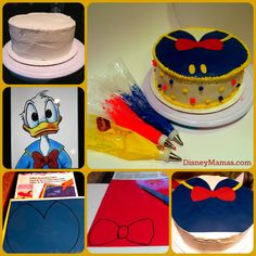 Decorating your Donald Duck Cake is surprisingly simple! Donald Duck Cake, Donald Duck Party, Kids Birthday Themes, 8th Birthday, Birthday Cakes, Disney Inspired Food, Disney Food, Friends Cake, Mickey And Friends