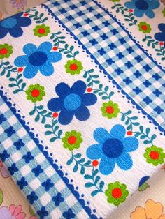 Length Of French Vintage Blue Flower 1970's Fabric