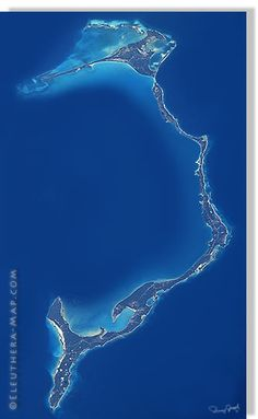 A map of the island of Eleuthera.  It's only 110 miles long and two miles wide... I'm in love with it!  Must visit!