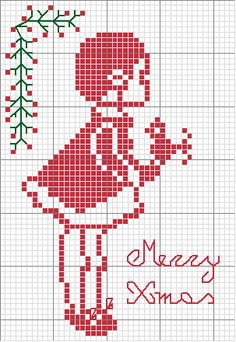 For Christmas season - needlework template to miniaturize and place on dollhouse desk with embroidery supplies nearby ? | Source: Croccetando