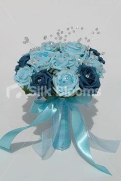 Shop Aqua & Teal Rose Bridesmaid Wedding Bouquet w/ Clear Crystals online from Silk Blooms at just £ It is an online artificial wedding flowers store in UK. Aqua Wedding, Wedding Bridesmaids, Wedding Tips, Wedding Bouquets, Blue Bouquet, Teal, Turquoise, Bridal Flowers, Clear Crystal