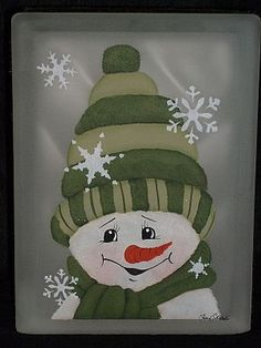 Designs by Cheryl Skalski-Hand Painted Glass Blocks Christmas Glass Blocks, Christmas Signs, Christmas Art, Christmas Ornaments, Painted Glass Blocks, Lighted Glass Blocks, Hand Painted, Snowman Crafts, Holiday Crafts