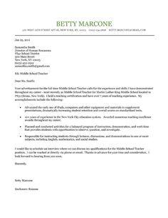 Middle School Teacher Cover Letter